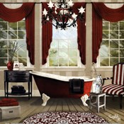 red chandelier bath I