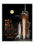 Space Shuttle Discovery under a Full Moon