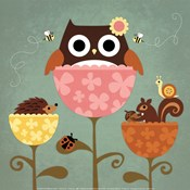 Owl, Squirrel and Hedgehog in Flowers