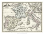 Map of France, Spain & Italy