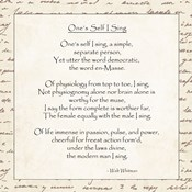 One's Self I Sing by Walt Whitman