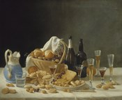 Still Life with Wine Bottles and Basket of Fruit, 1857
