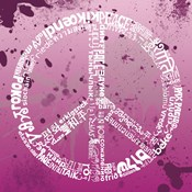 Peace (Different Languages) on pink