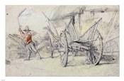 A Man Threshing Beside a Wagon