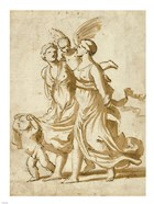 Two Girls Accompanied by Cupid