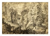 Mountain Landscape, Peasants in a Clearing near a Waterfall