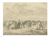 A Scene on the Ice with Skaters and Wagons