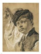 A Boy Holding a Pear