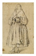 Standing Woman Holding a Muff and Shawl