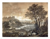 A Landscape with Shepherds Resting Under a Tree by a Cascade