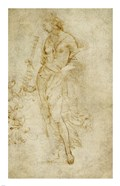 Female Figure with a Tibia, and Ornamental Studies