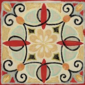 Bohemian Rooster Tile Square II