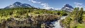 Waterfalls at base of a lake, Swiftcurrent Lake, Glacier National Park, Montana, USA