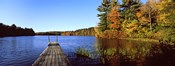 Fall colors along a New England lake, Goshen, Hampshire County, Massachusetts, USA