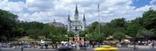 Cathedral at the roadside, St. Louis Cathedral, Jackson Square, French Quarter, New Orleans, Louisiana, USA