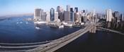 Aerial View Of Brooklyn Bridge, Lower Manhattan, NYC, New York City, New York State, USA