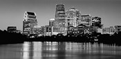 USA, Texas, Austin, Panoramic view of a city skyline (Black And White)