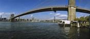 Suspension bridge across a river, Brooklyn Bridge, East River, Manhattan, New York City, New York State, USA