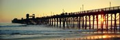 Pier in the ocean at sunset, Oceanside, San Diego County, California, USA