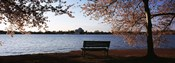 Park bench with a memorial in the background, Jefferson Memorial, Tidal Basin, Potomac River, Washington DC, USA