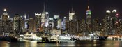 Buildings in a city lit up at night, Hudson River, Midtown Manhattan, Manhattan, New York City, New York State, USA