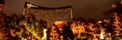 Hotel lit up at night, Wynn Las Vegas, The Strip, Las Vegas, Nevada, USA