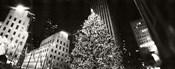 Christmas tree lit up at night, Rockefeller Center, Manhattan (black and white)