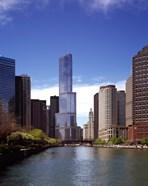 Skyscraper in a city, Trump Tower, Chicago River, Chicago, Cook County, Illinois, USA