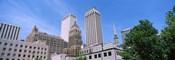 Low angle view of downtown buildings, Tulsa, Oklahoma
