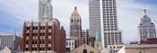 Low angle view of downtown skyline, Tulsa, Oklahoma