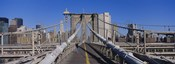 Rear view of a woman walking on a bridge, Brooklyn Bridge, Manhattan, New York City, New York State, USA
