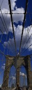 Low angle view of a bridge, Brooklyn Bridge, Manhattan (color, vertical)