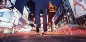 Low angle view of sign boards lit up at night, Times Square, New York City, New York, USA