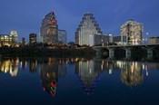 Night view of Town Lake, Austin, Texas