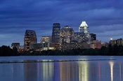Buildings at the waterfront lit up at dusk, Town Lake, Austin, Texas, USA