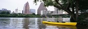 Yellow kayak in a reservoir, Lady Bird Lake, Colorado River, Austin, Travis County, Texas, USA