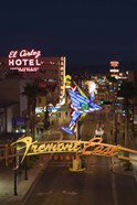 Neon casino signs lit up at dusk, El Cortez, Fremont Street, The Strip, Las Vegas, Nevada, USA