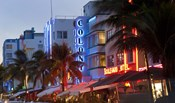 Hotels lit up at dusk in a city, Miami, Miami-Dade County, Florida, USA