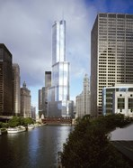 Skyscrapers in a city, Trump Tower, Chicago River, Chicago, Cook County, Illinois, USA