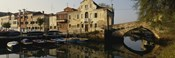 Reflection of boats and houses in water, Venice, Veneto, Italy