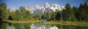 Reflection of a snowcapped mountain in water, Near Schwabachers Landing, Grand Teton National Park, Wyoming, USA