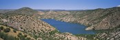 High angle view of a lake surrounded by hills, Santa Cruz Lake, New Mexico, USA