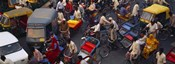 High angle view of traffic on the street, Old Delhi, Delhi, India