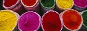 High angle view of various powder paints, Braj, Mathura, Uttar Pradesh, India
