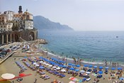 Houses on the sea coast, Amalfi Coast, Atrani, Salerno, Campania, Italy