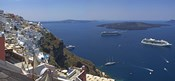 Ships in the sea viewed from a town, Santorini, Cyclades Islands, Greece