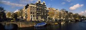 Boats and Buildings along a canal, Amsterdam, Netherlands