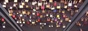 Locks of Love on a fence, Hohenzollern Bridge, Cologne, North Rhine Westphalia, Germany