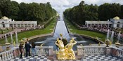 Golden statue and fountain at Grand Cascade at Peterhof Grand Palace, St. Petersburg, Russia