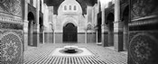 Interiors of a medersa, Medersa Bou Inania, Fez, Morocco (black and white)